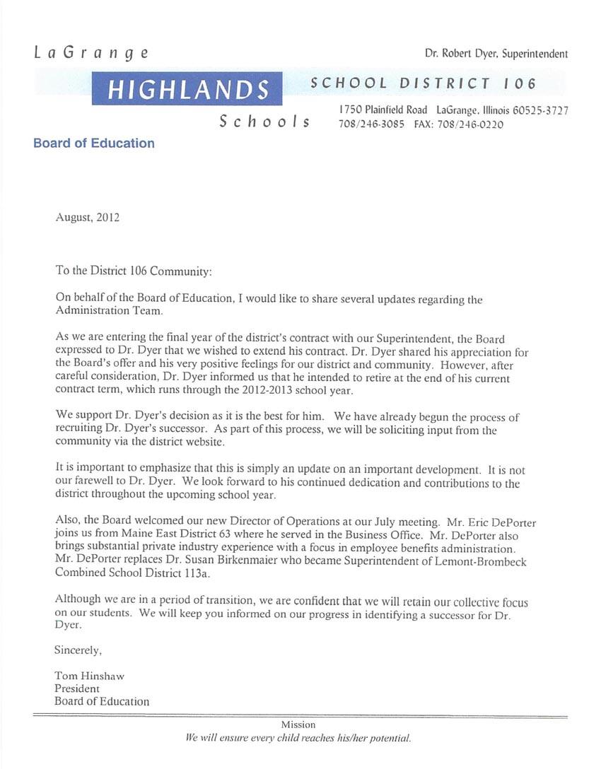 D106 Letter from Tom 8/2012