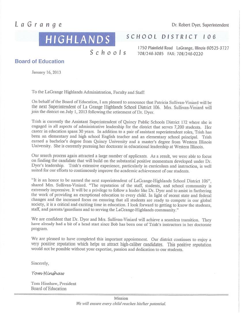 D106 Letter from Tom 1/2013